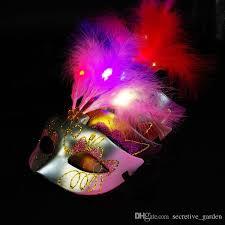 feather mask led feather mask mardi gras masquerade party mask