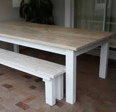 white table with bench pine patio dining table two benches in white wash stain
