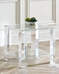 interlude home langston acrylic side table with casters