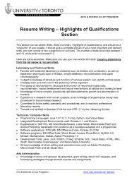 Skill Section Of Resume Example by Qualification Section Of Resume Resume For Your Job Application