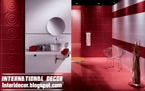 modern red wall tile designs ideas for bathroom