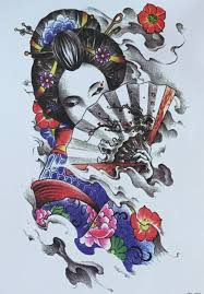 2015 promotion tatouage fashionable the japanese geisha design