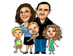 famil custom family cartoon caricature portrait personalized