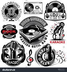 set retro badges templates karaoke disco stock vector 509998297