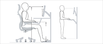 standing at work above desk keyboard trays or a sit stand desk