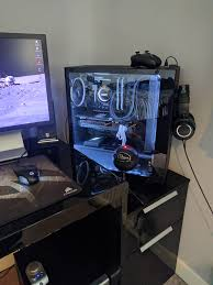 Custom Gaming Desk by Cleaned Up My Station Gaming Setup Pinterest Cleaning