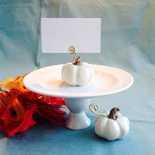 white pumpkin place card holders fall wedding decoration