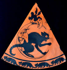 vintage halloween party hat broom riding witch cat riding moon