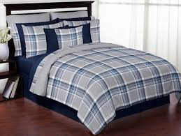 Teen Queen Bedding Navy Blue And Grey Plaid 3pc Boys Teen Full Queen Bedding Set