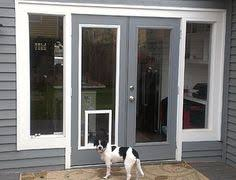 sliding glass door with built in dog door love the idea of framing out the doggy door can we