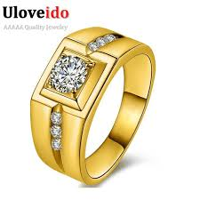 gold male rings images Online cheap uloveido gold plated silver cz diamond wedding male jpg