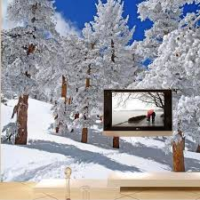 popular wall mural wallpaper snow tree buy cheap wall mural custom size 3d photo mural wall paper hd winter snow tree birch wallpaper for living room