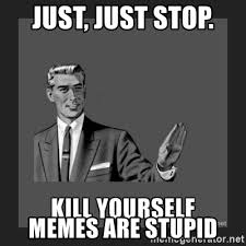 Memes Are Stupid - just just stop memes are stupid kill yourself guy meme generator