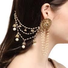 jhumka earrings with chain buy gold plated bahubali chain jhumka earrings set online in