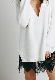 sweater with oversized white knit sweater and black lace slip dress 4u