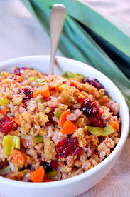 brown rice with cranberries leeks and thyme