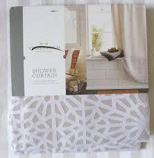 Geometric Burnout Shower Curtain Tan Threshold Shower Curtain Ajarin Us