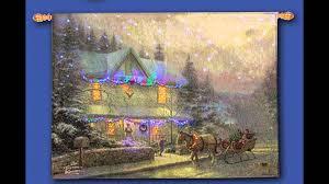 thomas kinkade lighted pictures victorian christmas thomas kinkade fiber optic wallhanging youtube