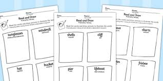 seaside themed differentiated read and draw worksheets polish