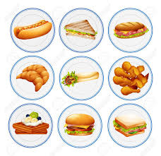 cuisine types different types of food on plates illustration royalty free cliparts