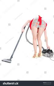cleaning fun young housewife cleaning stock photo 257967200
