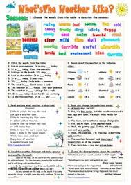 whats the weather like esl worksheets of the day pinterest