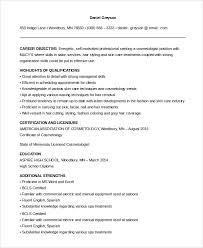 cosmetologist resume sle cosmetology resume 6 exles in pdf word