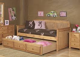 rustic carbonized white oak wood daybed with storage drawer of