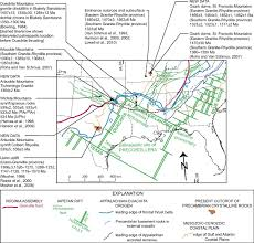 Ouachita Mountains Map Ages Of Pre Rift Basement And Synrift Rocks Along The Conjugate
