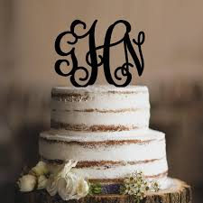 monogram three initial wedding cake topper custom cake topper in