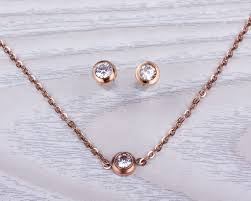 rose gold necklace earrings images Sets necklace earrings set matching set gold necklace jpg