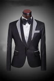Mens Dress Clothes Online Grid Matching Collar Men U0027s Black Wedding Suit Tuxedo For Men