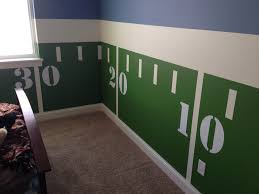 Football Room Decor Create A Unique Chair Rail Effect With Yard Lines Masked Out With
