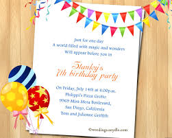 birthday text invitation messages 7th birthday wordings mesmerizing 7th birthday invitation wording