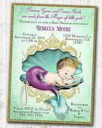 vintage mermaid baby shower invitation little mermaid baby shower