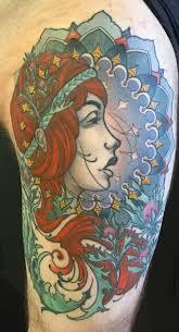 black ink women face tattoo on half sleeve