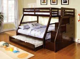 Walter Espresso Twin Full Bunk Bed With Steps Stairway Drawers Kids - Full bunk bed