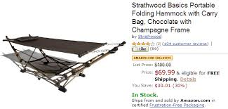strathwood basics portable folding hammock for 69 99 shipped