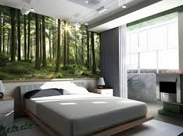modern schlafzimmer modern schlafzimmer wandgestaltung gestalten wald inspiration bett