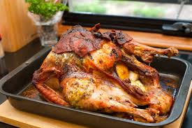 turkey in thanksgiving turkey in a roasting tray free stock image