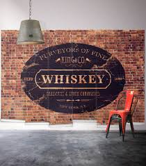 whisky themed exposed brick wall mural milton king whiskey wall mural from wallpaper republic