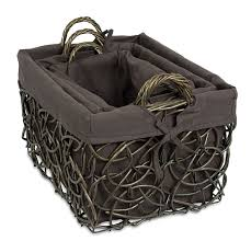 wicker basket with leather handles birdrock home decorative willow basket set with liner set of 3