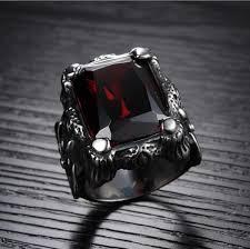 steel male rings images Buy men ring titanium steel vintga classic red diamond ring for jpg