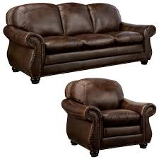 Brown Leather Loveseat Monterrey Brown Italian Leather Sofa And Leather Chair Overstock