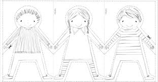6 best images of paper doll chain printable pattern paper doll