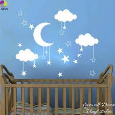 chambre enfant espace bébé pépinière lune étoiles couverture d autocollant de mur de