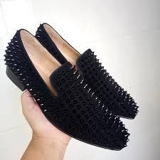 Prom Shoes Flats Cool Tiro Studded Stuts Black Spikes Loafers Men Smoking Slipper