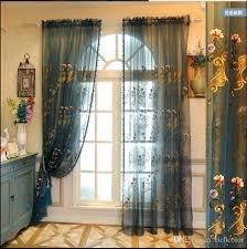 four colors available embroidered voile curtains bedroom sheer