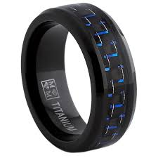 most comfortable wedding band oliveti black titanium men s black and blue carbon fiber comfort