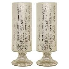 Uplight Table L Decor Therapy Frosted Chrome Damask Design Glass Cylinder Uplight